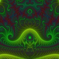 Electric Green & Red Swirly Abstract