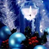 Merry Christmas Blue Candle & Ornament