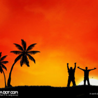 Orange Tropical Silhouette Sunset