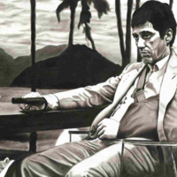 Scarface Drawing in Black & White