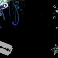 Needle, Razor, Stars & Swirls in Blues on Black