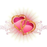 Pink Hearts w/ Gold & Diamond Bling