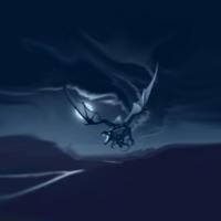 Blue Dragon in Night Sky