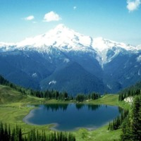 Snow Capped Mountain & Valley Lake