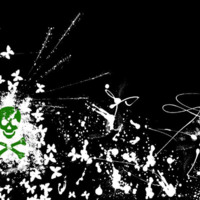 White Butterflies & Green Skull