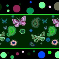 Pink & Green Butterflies, Flowers & Dots