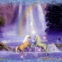 Unicorns at Rainbow Waterfall