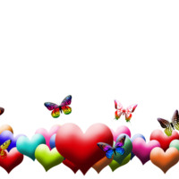 Rainbow of Hearts & Butterflies