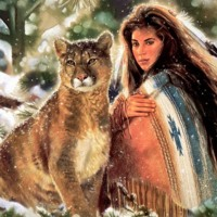 Mountain Lion & Native American Woman