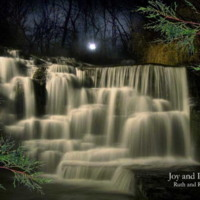 River Waterfall in Moonlight