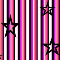 Pink, White, Peach & Black Stripes & Stars