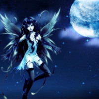 Blue Anime Moon Fairy