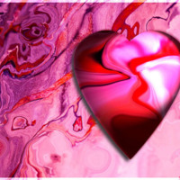 Pink & Red Marble Heart