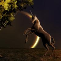 Unicorn Under Dark Moon