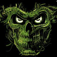 Evil Angry Green Skull Design