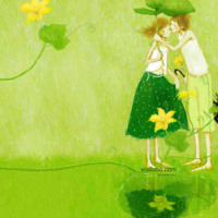 Green Kissing in the Rain