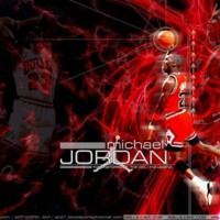Michael Jordan Red & Black Abstract
