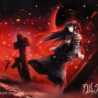 Dark Anime Girl in Red Graveyard