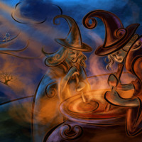 Abstract Witches & Caldron