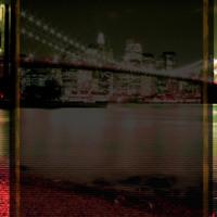New York City Skyline in Green, Red & Black