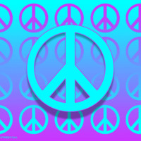 Turquoise & Purple Peace Signs