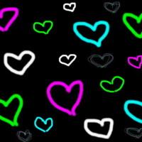 White, Green, Pink & Aqua Hearts on Black