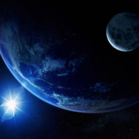 Earth & Moon in Outerspace