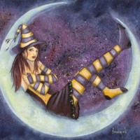Young Witch in Crescent Moon