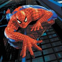 Spiderman Climbing Down a Skyscraper