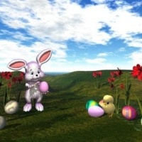Computer Generated Easter Bunny & Scene