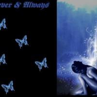 Glowing Blue Fairy & Butterflies