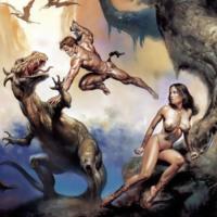 Barbarian Couple Fighting Dragon