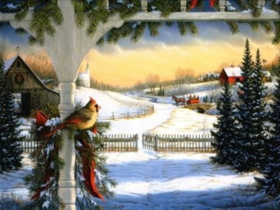 Christmas Country Scene Facebook Timeline Cover Backgrounds
